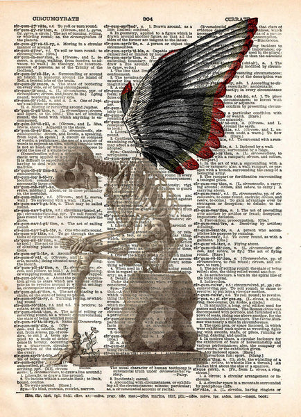 Fallen Angel art, skeleton art print, skeleton wings, dark art -  - 1
