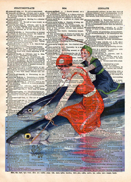 Beach art, vintage swimwear, women riding fish, dictionary art -  - 1