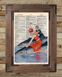 Beach art, vintage swimwear, women riding fish, dictionary art -  - 2