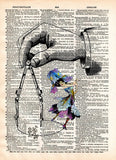 Vintage dancing girl, french art print, dictionary page book art print -  - 1
