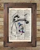 Vintage dancing girl, french art print, dictionary page book art print -  - 2