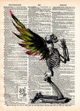 Creepy skeleton, Fallen Angel art, winged skeleton fairy, death angel, creepy art,  vintage dictionary page book art print -  - 1