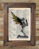 Creepy skeleton, Fallen Angel art, winged skeleton fairy, death angel, creepy art,  vintage dictionary page book art print -  - 2
