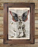 Dark Fairy, skeleton fairy, skeleton oddity, dictionary page book art print -  - 2
