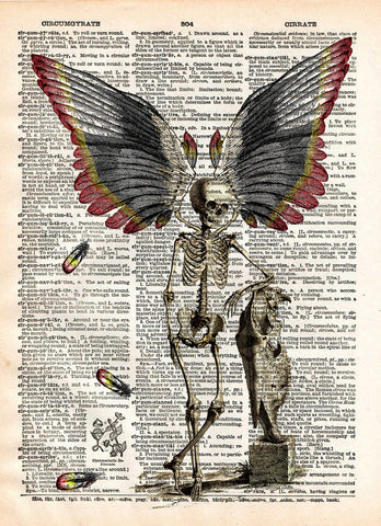 Dark Fairy, skeleton fairy, skeleton oddity, dictionary page book art print -  - 1