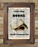 I Like big BOOKS, geeky nerdy art,  vintage dictionary page book art print -  - 2