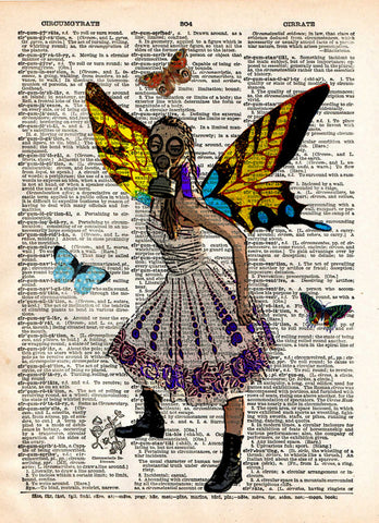 Gasmask girl, Butterfly princess in gasmask, steampunk art,  dictionary page book art print -  - 1