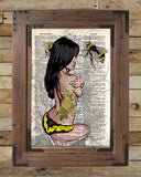 Sexy pinup girl, rockabilly tattoo pinup girl, bumblebee art, dictionary art -  - 2
