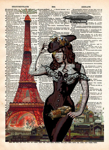 Eiffel Tower art, sexy steampunk pinup girl, book page art -  - 1