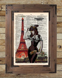 Eiffel Tower art, sexy steampunk pinup girl, book page art -  - 2