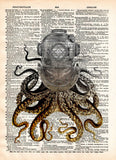 Octopus art,  diving helmet, victorian steampunk, lovecraft octopus, dictionary page art print -  - 1