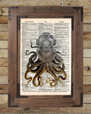 Octopus art,  diving helmet, victorian steampunk, lovecraft octopus, dictionary page art print -  - 2