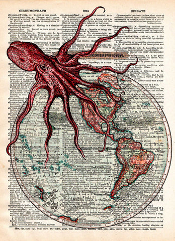 Octopus art, world map, victorian steampunk,  lovecraft octopus, dictionary page art print -  - 1