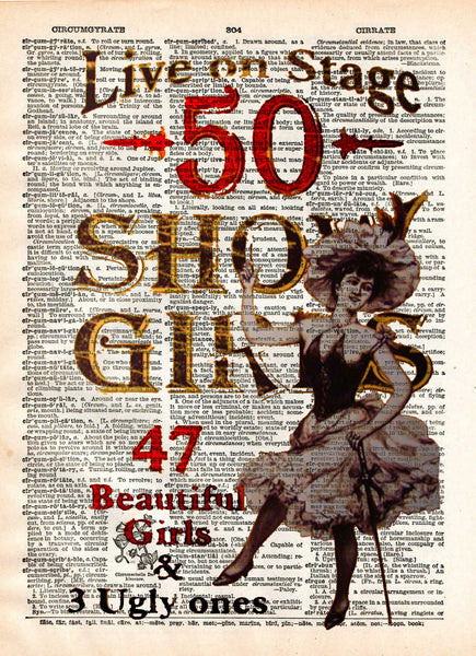 Vintage showgirls saloon sign, wild west saloon sign, burlesque art poster -  - 1