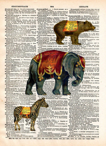 Childrens room art print, circus animals, elephant, bear, zebra vintage dictionary page art print -  - 1
