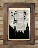 Victorian skyline, girl with balloon, birds, retro vintage dictionary page art print -  - 3