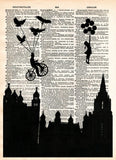 Victorian skyline, girl with balloon, birds, retro vintage dictionary page art print -  - 1