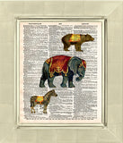 Childrens room art print, circus animals, elephant, bear, zebra vintage dictionary page art print -  - 2