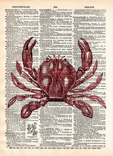 Crab print, nautical print, beach decor, dictionary page art print -  - 1