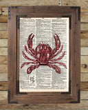 Crab print, nautical print, beach decor, dictionary page art print -  - 2