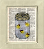 Firefly art, mason jar artfireflies in mason jar, childrens art,  vintage dictionary art print -  - 2