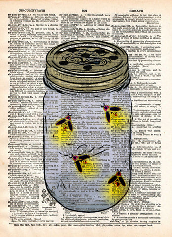 Firefly art, mason jar artfireflies in mason jar, childrens art,  vintage dictionary art print -  - 1