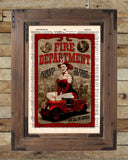 Pinup girl, Fire department sign, pin up art  vintage dictionary page art print -  - 2
