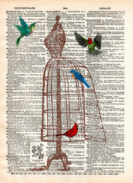 Dress form birdcage, hummingbird art, vintage dictionary page art print -  - 1