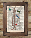 Dress form birdcage, hummingbird art, vintage dictionary page art print -  - 2
