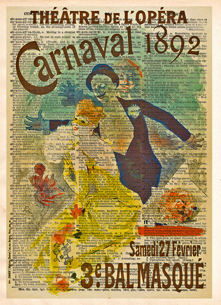 Theatre poster, unique wall art, Carnaval Opera poster 1892, masquerade ball,  vintage dictionary art print -  - 1