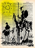 Don Quixote Print, Picasso drawing, vintage dictionary art print -  - 1