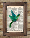 Hummingbird art print, bird art, childrens art, vintage dictionary print -  - 2