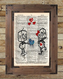 Robot love, cute robot art print, vintage dictionary page art -  - 2