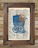 Octopus baby carriage, victorian steampunk lovecraft octopus, creepy tentacle art, dictionary page art print -  - 2
