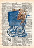 Octopus baby carriage, victorian steampunk lovecraft octopus, creepy tentacle art, dictionary page art print -  - 1