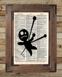 Cute Voodoo Doll, cute gothic art, creepy doll art, dictionary page art print -  - 2