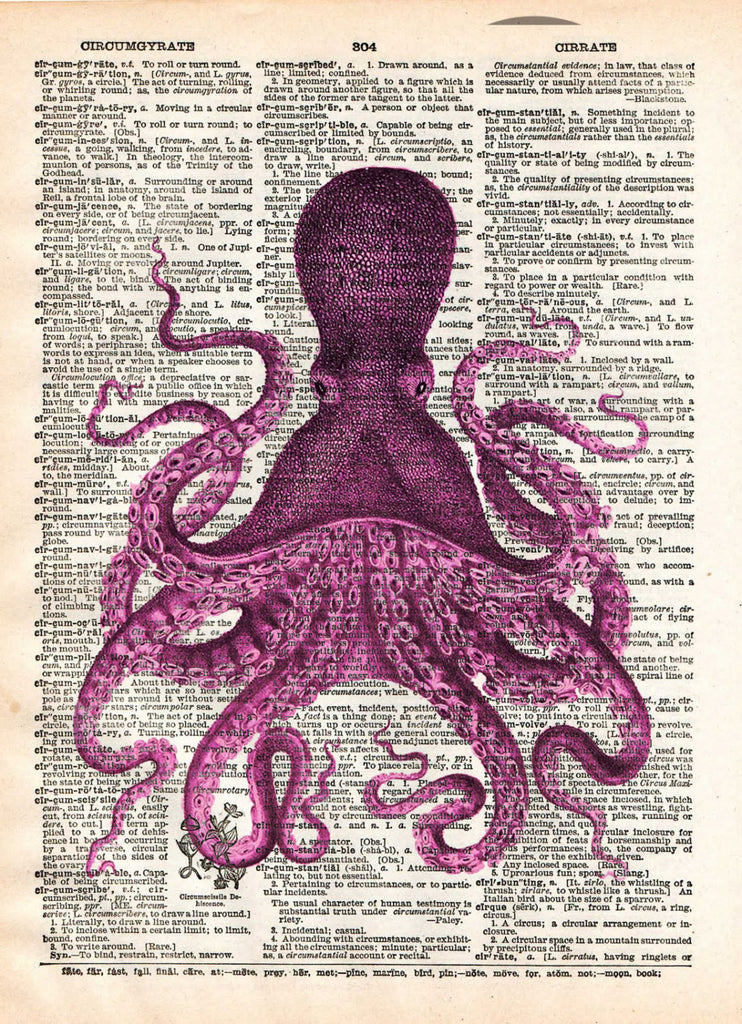 ... Octopus Wall Art, Vintage Octopus Drawing, Dictionary Print, Book Page  Art   ...
