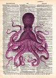 Octopus wall art, vintage octopus drawing, dictionary print, book page art -  - 3