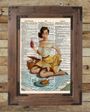 Vintage Pinup girl, Ekman reproduction print of mishap at the picnic, dictionary page art -  - 2
