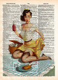 Vintage Pinup girl, Ekman reproduction print of mishap at the picnic, dictionary page art -  - 1