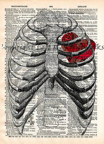 Steampunk clockwork heart, vintage anatomy ribcage, dictionary page book art print -  - 1