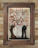 Kissing under a cherry blossom tree, falling in love romantic art print, dictionary art print -  - 2