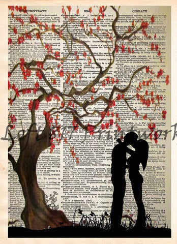 Kissing under a cherry blossom tree, falling in love romantic art print, dictionary art print -  - 1