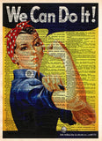 Rosie the Riveter, We Can Do It, WPA poster, vintage inspirational wall art, dictionary page art print -  - 1