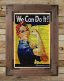Rosie the Riveter, We Can Do It, WPA poster, vintage inspirational wall art, dictionary page art print -  - 2