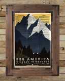 WPA national park poster, Montana wall art, vintage sign, art deco vintage wall decor, dictionary page print -  - 2