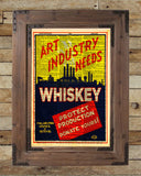 Art Industry needs Whiskey, WPA advertising poster, art deco wall art, Dictionary page print -  - 2