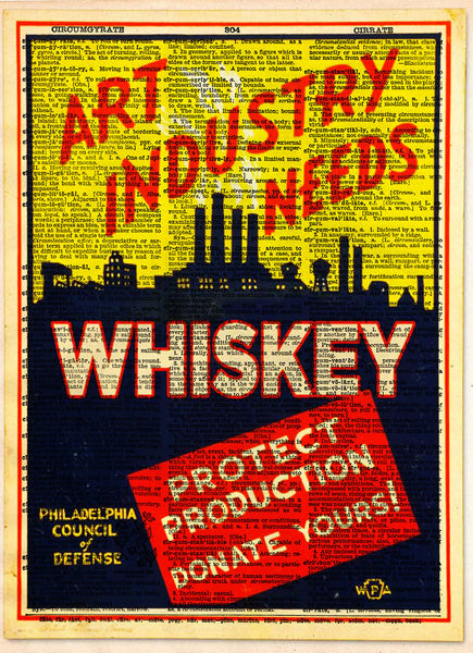Art Industry needs Whiskey, WPA advertising poster, art deco wall art, Dictionary page print -  - 1