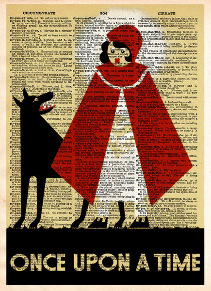 Once upon a time, WPA poster art print, retro 1930's wall art, dictionary page art print -  - 1
