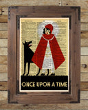 Once upon a time, WPA poster art print, retro 1930's wall art, dictionary page art print -  - 2